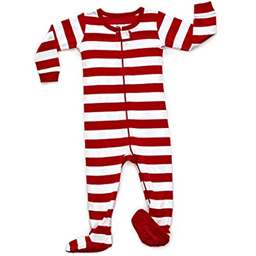 leveret red white footed pajama sleeper 100 cotton 6 12 months