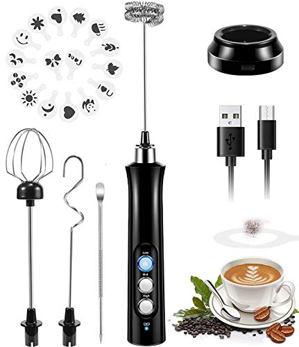 Mini Milk Frother, 3 Speeds Electric Handheld Foam Maker USB Rechargeable Blender Egg Beater Drink Mixer with 2 Spring…
