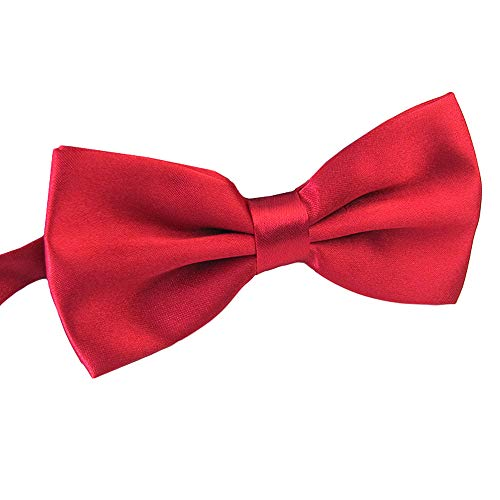 Men's Pre Tied Bow Ties for Wedding Party Fancy Plain Adjustable Bowties Necktie (Purplish Red) ()