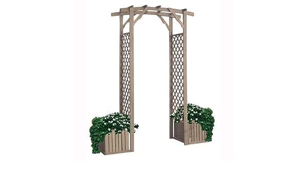 Patio Portal de Madera Con 2 Ganchos Con Panel Grigliato Laterales H: 230 cm: Amazon.es: Jardín