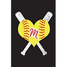 M Monogram Initial Softball Journal: Personalized Softball Journaling Notebook, 6x9 lined blank notebook, 150 pages, journal to write in for ... quotes, paperback composition book