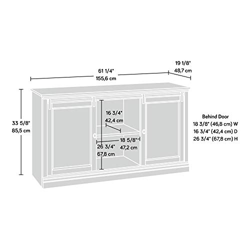 Sauder 423674 Barrister Lane 60'' Sliding Door Entertainment Credenza, White Plank Finish by Sauder (Image #1)