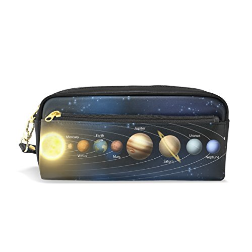 La Random Solar System Planets And Orbits Pencil Case Pu Leather Large Capacity Makeup Cosmetic Travel Pouch Bag