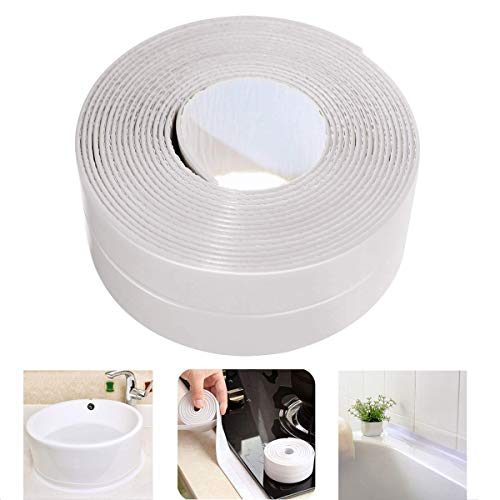 Sealing Strip Flexible Self Adhesive Caulking Tape Waterproof for Kitchen Bathroom Tub Shower Floor Wall Edge Protector (White, 126x1.5 Inches)