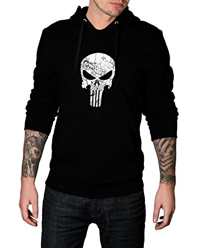 [Men Punisher Logo Costume for Halloween 2017 - Cosplay Hoodie | Black, L] (Punisher Outfit)