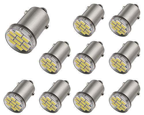 (Aucan 12V 10PCS BA9 BA9S 53 57 1895 64111 10SMD 3014 Led Bulbs Used for Instrument Cluster, Door Courtesy, License Plate Lights, Xenon White)