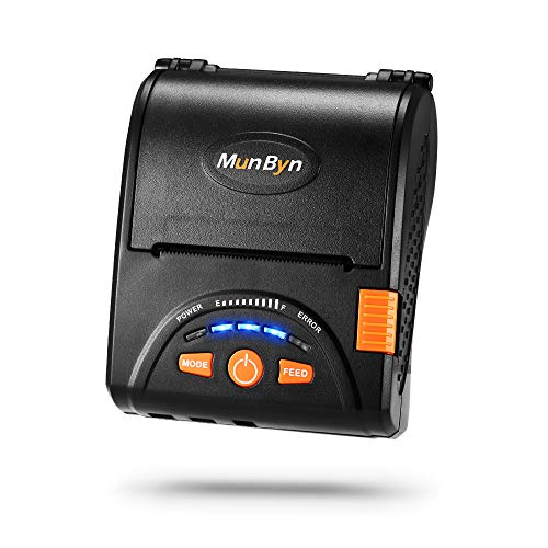 Bluetooth Mobile Thermal Receipt Printer, MUNBYN 2 Inches 58MM Impresora térmica Printer with Leather Belt Compatible with Android Devices for Business ESC/POS, Does NOT Support Square