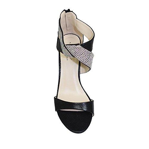 Lunar Simone Glitzy Diamante Ankle Strap Medium Heeled Sandal, Gold or Black, 3,4,5,6,7,8 Black