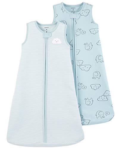 Carter's Baby Boys 2-Pack Cotton Sleepbag, Blue Cloud/Stripe, M