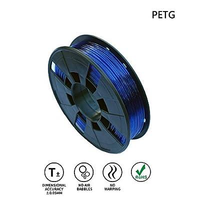 LEE FUNG 1.75mm PETG 3D Printing Filament, Dimensional Accuracy +/- 0.05mm, 0.55 LBS (0.25KG) Spool,1.75 mm 3D Filament for Most 3D Printer & 3D Printing Pen (Transparent Blue)