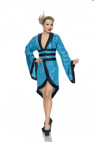 [Delicious Gorgeous Geisha Costume, Teal, Small] (Sexy Geisha Costumes)