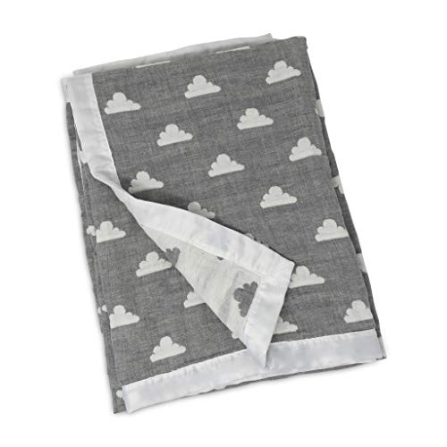 (Living Textiles Muslin Jacquard Blanket with Grey Clouds. Double-Layered Muslin Jacquard 100% Cotton Baby Blanket (40x30 inch))