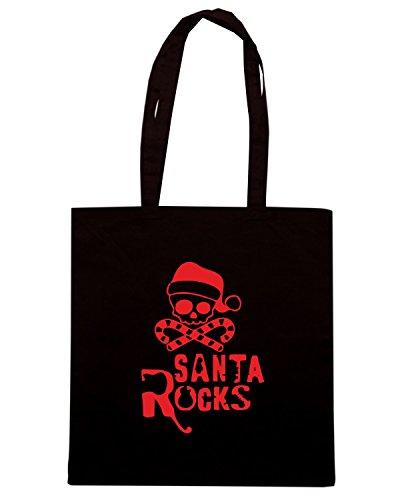 T-Shirtshock - Bolsa para la compra T0394 santa rocks festivita Negro