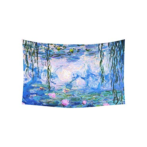 Tapestry Monet Claude Water Lilies Oil Painting Tapestries Wall Hanging Flower Psychedelic Tapestry Wall Hanging Indian Dorm Decor for Living Room Bedroom 60 X 40 Inch