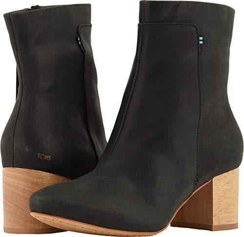 TOMS Women's Evie Leather Bootie, Size: 10 B(M) US, Color: Black Leather -