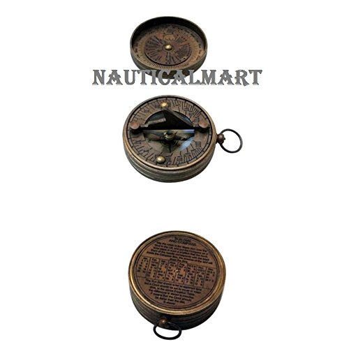 Nauticalmart Pocket Sundial Compass w/Lid Outdoor Camping Gear by NAUTICALMART