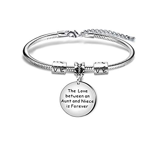 AGR8T Aunt Niece Charm Bracelet Birthday Aunt Jewelry Gifts - The Love Between Aunt and Niece is Forever
