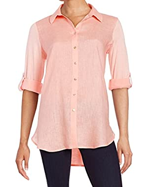 Calvin Klein Mixed Media Women's Medium Button Down Shirt Pink M