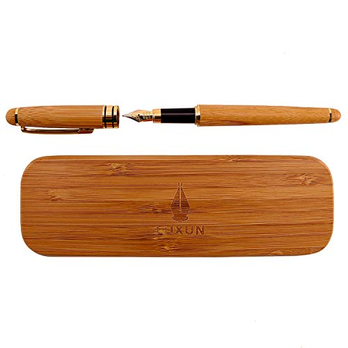Personalized Handcrafted Wood - Fountain Pen Writing Set Case 100% Handcrafted Bamboo Vintage Collection with Ink Refill Converter Gold Medium nib Business & Antique Gift Pen Perfect for Journaling and Calligraphy