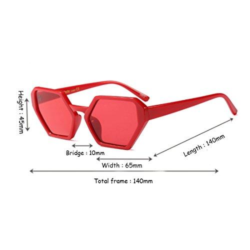 polígono tamaño gafas gafas diseño de gran moda sol Nuevo Rojo Inlefen gafas sol Vintage Retro de mujeres de hombres f4qwETxnT