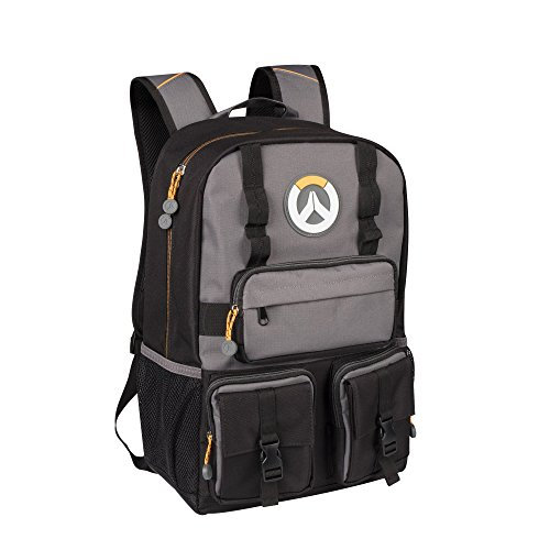 JINX Overwatch MVP Laptop School Backpack, Black/Gray, 18