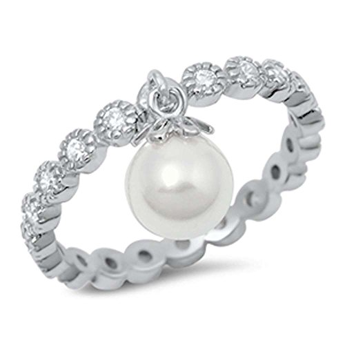 Oxford Diamond Co Round Eternity Band & Dangle Simulated Pearl .925 Sterling Silver Ring Sizes 8 (Band Ring Pearl Eternity)