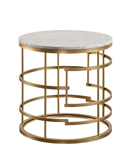 Homelegance Brassica 24 Round Faux Marble End Table, Gold