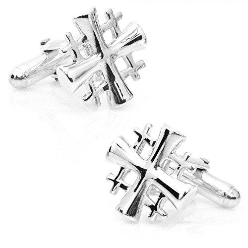 Link Religious Cross - Men's Executive Silver Tone Religious Jerusalem Five Fold Cross Cufflinks Cuff Links