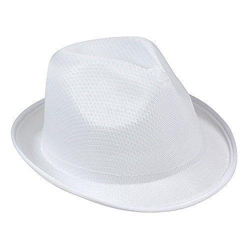 Ladies & Mens Summer Sun Hat - Fedora Panama Trilby Straw Style Beach Unisex (White)
