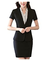 MFrannie Womens Short Sleeve Single Button Blazer & Skirt Office Lady Suit Set