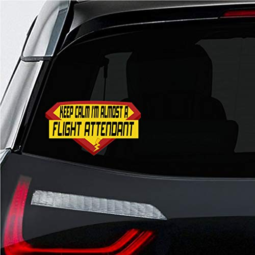 (Makoroni - KEEP CALM I'M ALMOST A FLIGHT ATTENDANT Career Car Laptop Wall Sticker Decal - 4'by7'(Small) or 5.5'by10'(Large))
