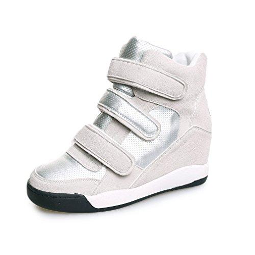 Chaussures De Sport Btrada Womens Coin Casual Bout Rond Pu Chaussures De Sport Pour Étudiants Rehausser Gris
