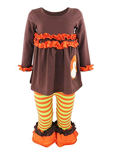 Baby Outfit Toddler Girl Turkey Ruffled Long Sleeve T-Shirt Colorful Stripe Pant Clothes Set (3-4T) Orange -