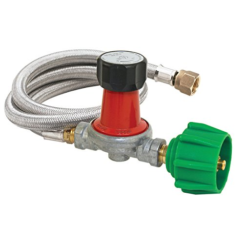 Bayou Classic M5HPR-30, 0-30 PSI Adjustable Regulator with Stainless Braided Hose ()