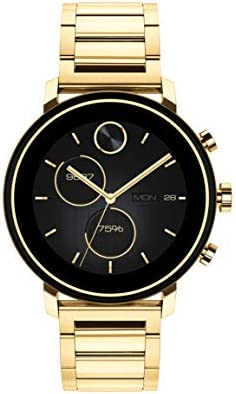 Movado Connect 2.0 Unisex Powered with Wear OS by means of Google Stainless Steel and Ionic Light Gold 2 Plated Steel Smartwatch, Color: Yellow (Model: 3660036)