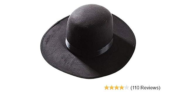 1fc677ba0f8 Amazon.com  Deluxe Western Amish Black Hat  Clothing