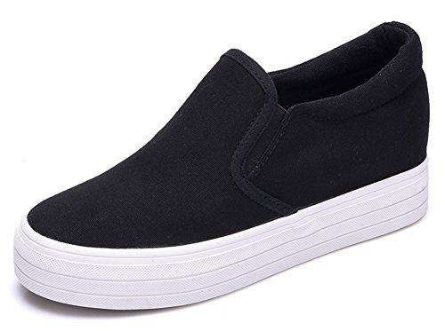 Women's Fashion Sneakers Shoes with High Cut (Black) - 5