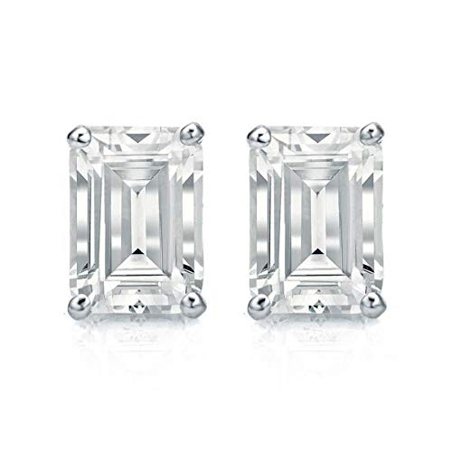 White Gold Diamond Solitaire Emerald Cut 2.00 ct CZ Stud Earrings 14K(585) Hallmarked Screw Back, Color D, Clarity VVS