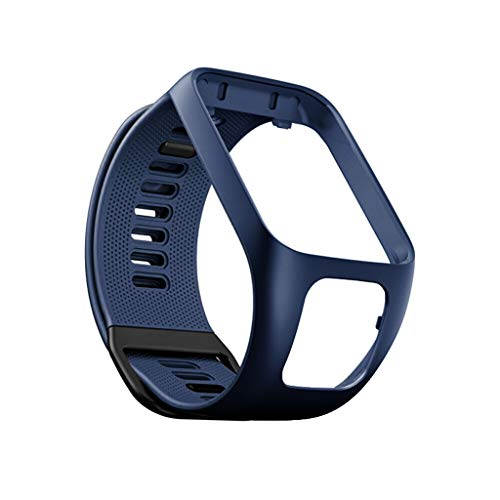 Kintaz Replacement Silicone WatchBand Bracelet Wristband for Tomtom Adventurer/Runner 2 3 / Spark 3 (Dark Blue) ()