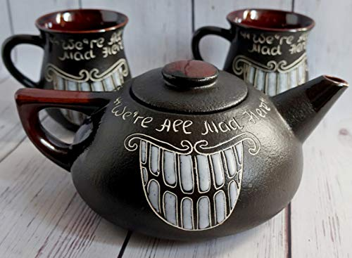 Tea set ceramic, Gift for fan Alice in wonderland, Handmade decor, Cheshire cat teapot, Funny tea set, We're All Mad Here]()
