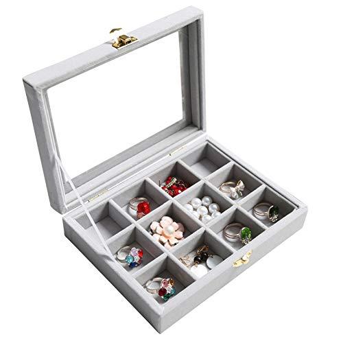 Wuligirl 12 Grid Velvet Glass Jewelry Ring Display Organizer Box Tray Holder Storage Case Rings Earrings Bracelet(12 Grid)