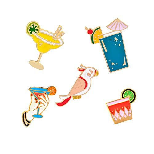 WINZIK Lapel Pins Set Novelty Cute Cartoon Brooch Badges for Children Adults Clothes Backpacks Decor (Parrot Cocktail Cup Juice Pins Set of 5) ()