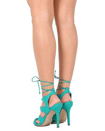 Breckelles Breckelles Ed04 Kvinnor Läder Peep Toe Gilly Slips Wrap Stilett Sandal Aqua