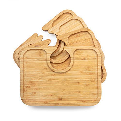 (Light weight bamboo wood appetizer plates with wine glass cutout holder for cocktail party, wine tasting, wedding shower, hostess, housewarming gift, set of 4, beveled edge, large size holds more)