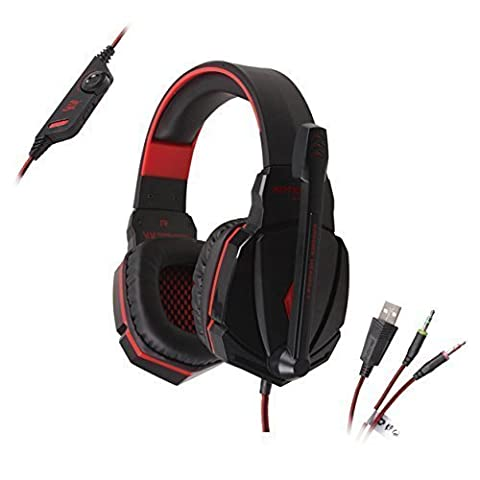 KOTION EACH G4000 Stereo Gaming Headset PC With Mic for Laptop Computer Smartphones, AFUNTA 3.5mm Plug Bass Over-ear Gaming Headphone with Volume Control - Red