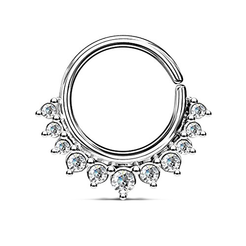 (Crystal Paved Half Circle Bendable Hoop Ring for Septum and Ear Piercings (Silver Tone))