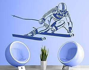 Wandtattoo No.1209 Ski Wintersport Schneeschuhe Abfahrt Winterurlaub...