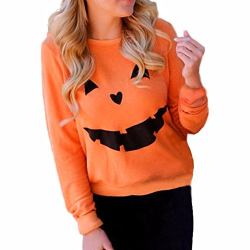 Sexyshine Women's Halloween Pumpkin Print Long Sleeve Sweatshirt Pullover Tops Blouse -