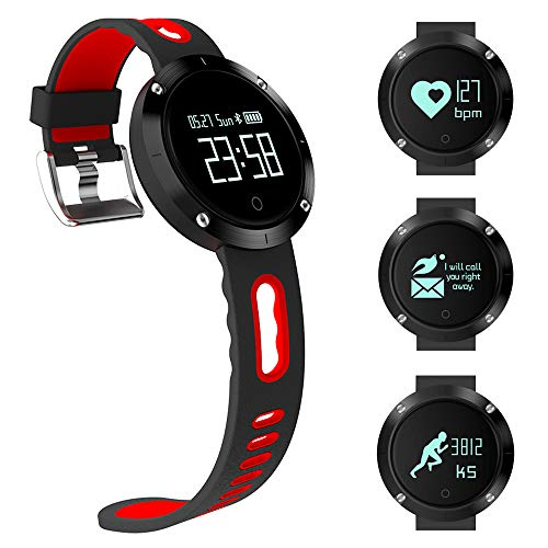 LUXSURE Fitness Tracker Activity Monitors Watch Bracelet Heart Rate Sleep Health Tracker Step Counter Notification Alerts Smart Wristband for iPhone/Android Smartphones (Balck/Red)