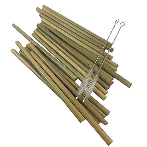 OMAS 20 PC Pajitas de bambú reutilizables 100% naturales,respetuosas con el medio ambiente +2 cepillos